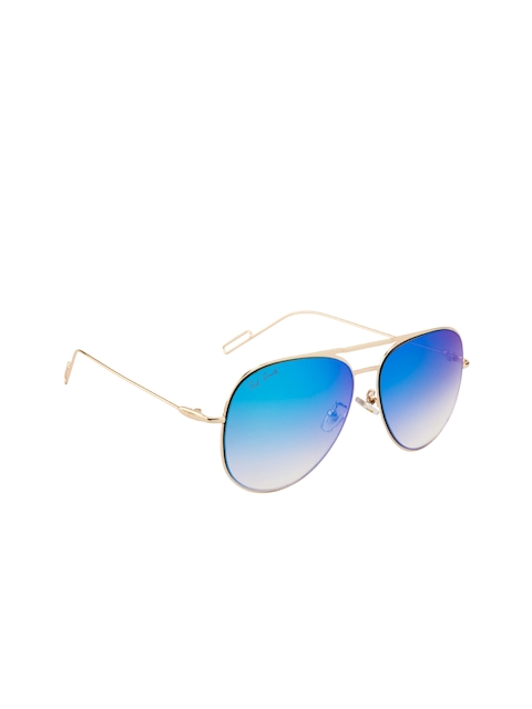 Ted Smith Unisex Mirrored Oval Sunglasses TS-0770S_GLDBLU