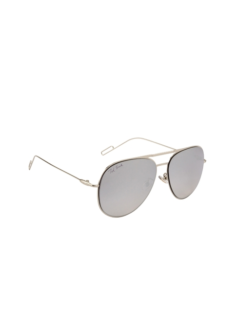 Ted Smith Unisex Mirrored Oval Sunglasses TS-0770S_SIL