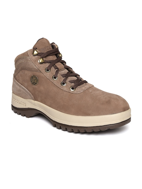 Woodland ProPlanet Men Brown Solid Mid-Top Leather Outdoor Shoes  available at myntra for Rs.2791