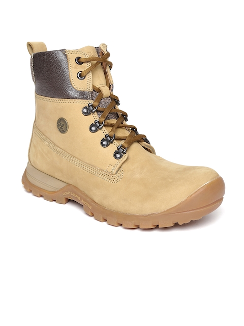 Woodland ProPlanet Men Beige Leather High-Top Outdoor Shoes