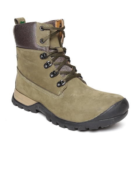 Woodland Men Olive Green Solid Leather High-Top Flat Boots
