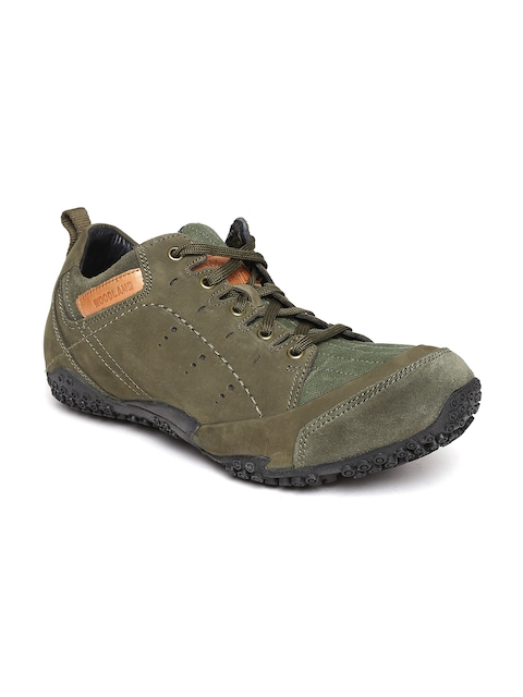 Woodland Men Olive Green Leather Outdoor Shoes  available at myntra for Rs.2396