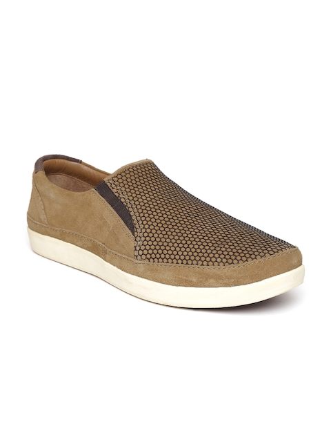 Woodland Men Brown Leather Slip-On Sneakers