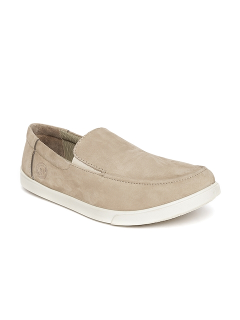 Woodland ProPlanet Men Khaki Solid Leather Slip-On Sneakers  available at myntra for Rs.2026