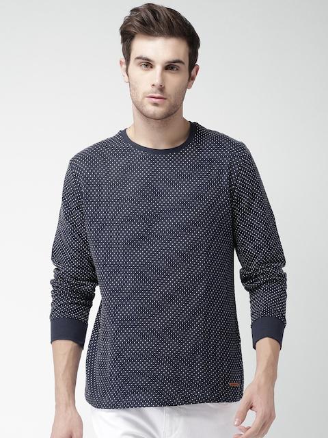 Mast & Harbour Men Navy Blue & White Self Design Sweatshirt