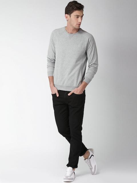 Mast & Harbour Men Grey Melange Solid Sweatshirt