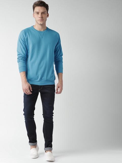 Mast & Harbour Men Blue Solid Sweatshirt