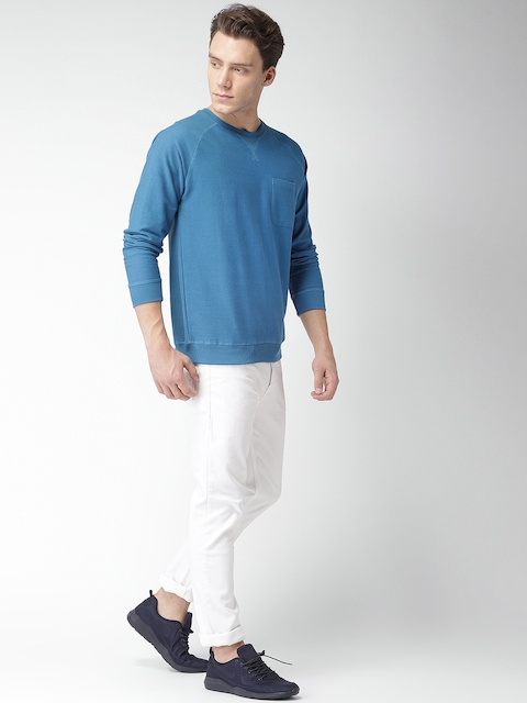 Mast & Harbour Men Blue Solid Sweatshirt