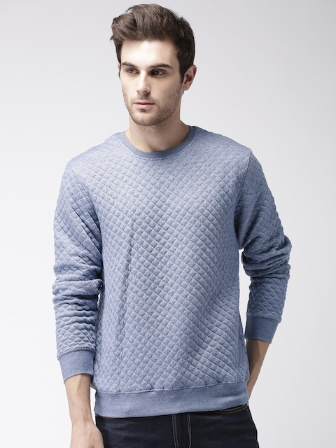 Mast & Harbour Men Blue Quilted Sweatshirt