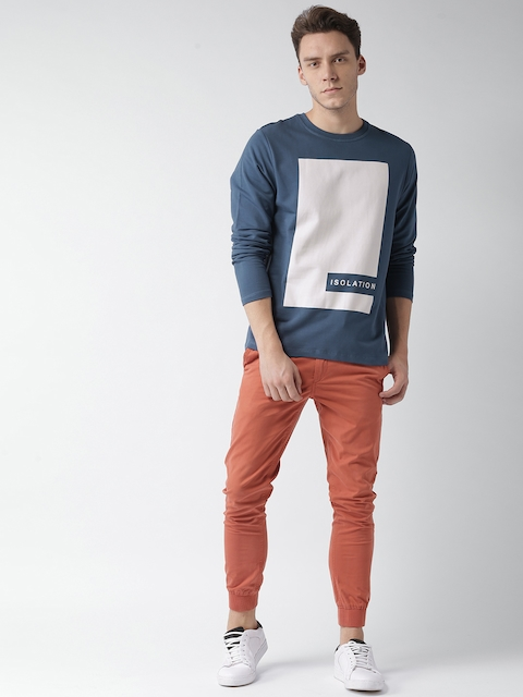 Mast & Harbour Men Blue Printed Sweatshirt