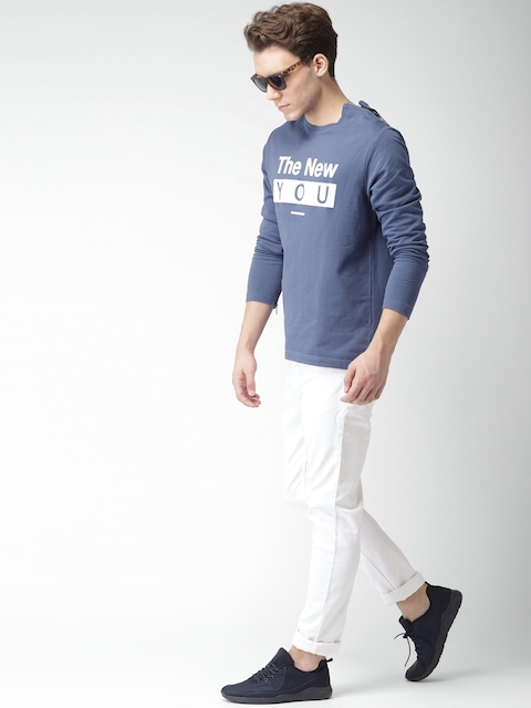 Mast & Harbour Men Blue Printed Sweatshirt