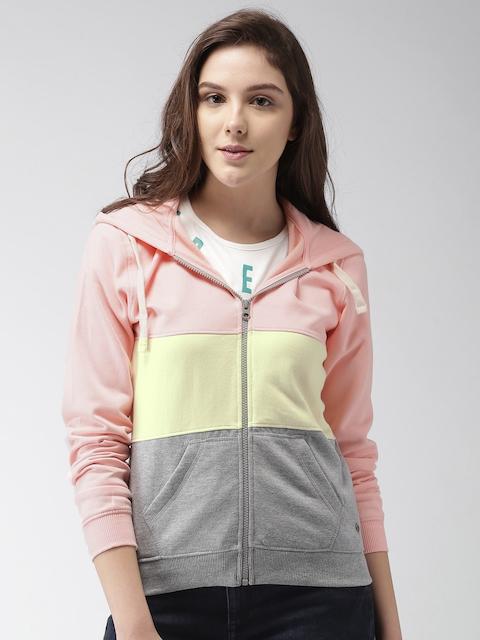 Mast & Harbour Women Pink & Cream-Coloured Colourblocked Hooded Sweatshirt