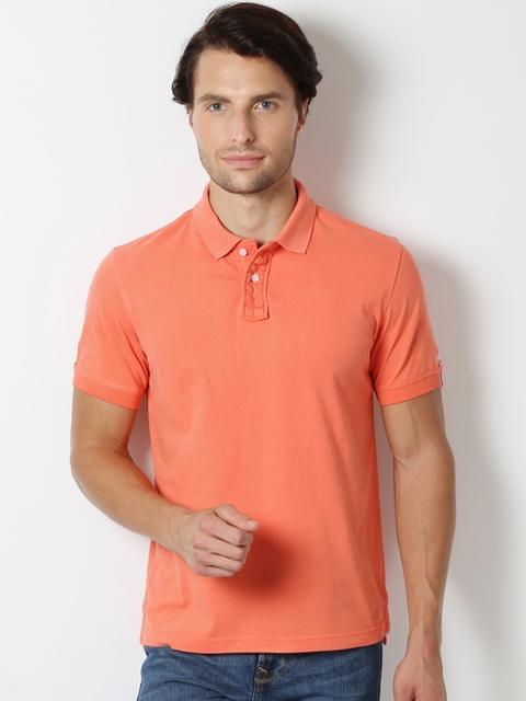 Peter England Men Coral Orange Solid Polo Slim Fit T-shirt