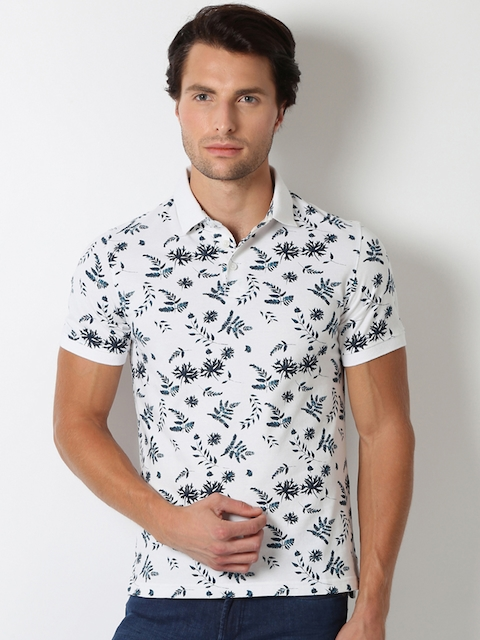 Peter England Men White & Navy Printed Slim Fit Polo T-shirt