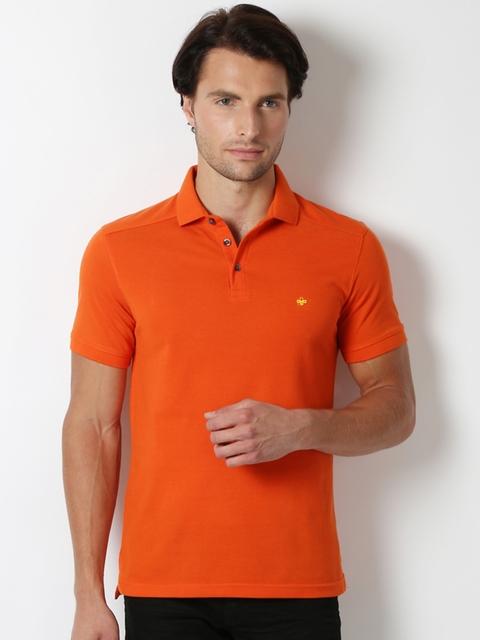 Peter England Men Orange Solid Polo T-shirt