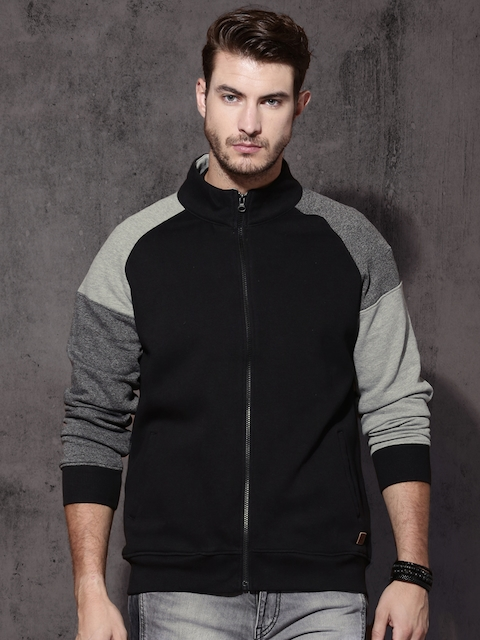 Roadster Men Black & Grey Solid Sweatshirt