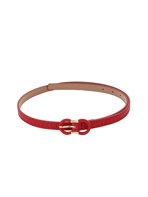 Alvaro Castagnino Women Red Basketweave Textured Belt