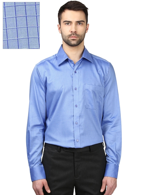 Raymond Men Blue Contemporary Fit Checked Formal Shirt