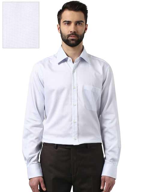 Raymond Men White Contemporary Fit Checked Formal Shirt