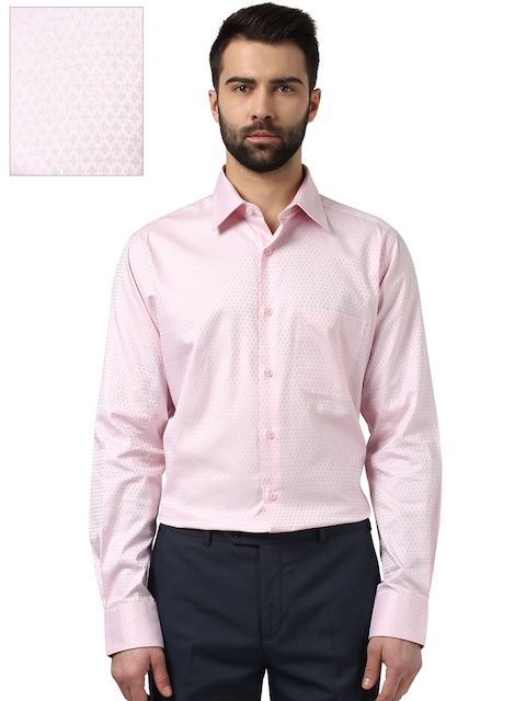 Raymond Men Pink Contemporary Fit Patterned Formal Shirt
