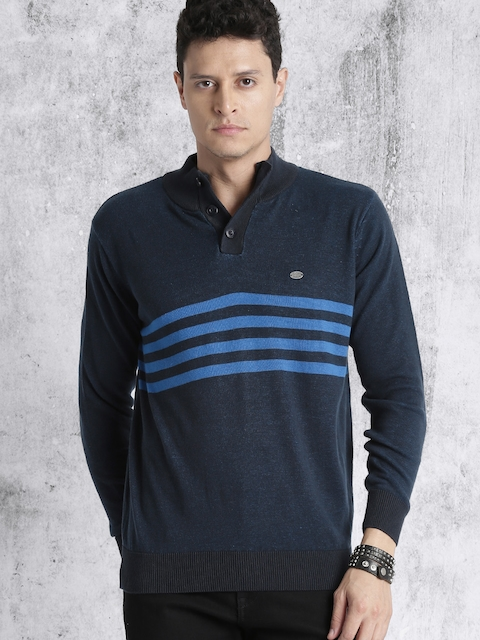 Roadster Men Blue Striped Pullover
