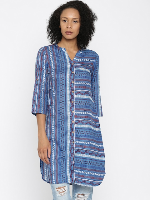 Global Desi Women Blue Printed A-Line Kurta  available at myntra for Rs.674
