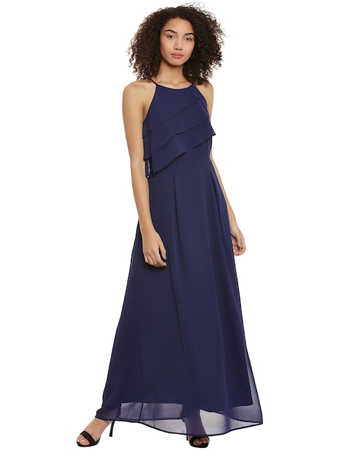 Femella Women Navy Blue Solid Maxi Dress  available at myntra for Rs.700