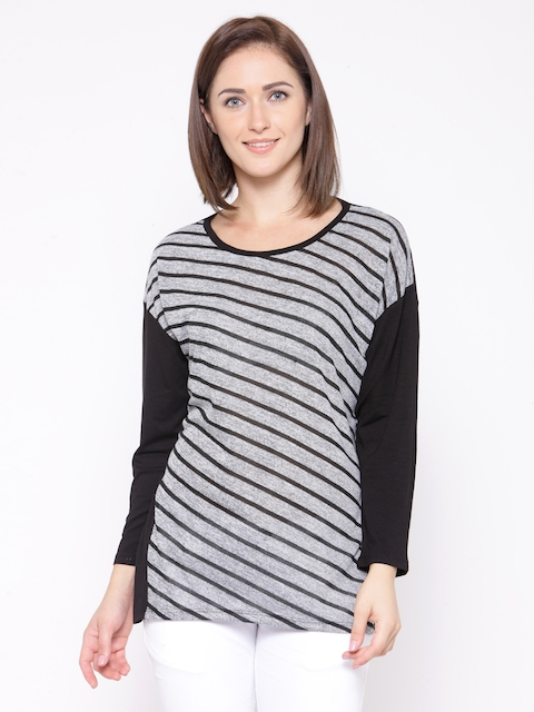 Monte Carlo Women Grey Melange & Black Striped Top