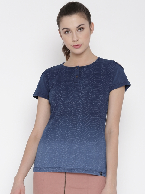 Monte Carlo Women Blue Ombre-Dyed Self-Design Cold Shoulder Top