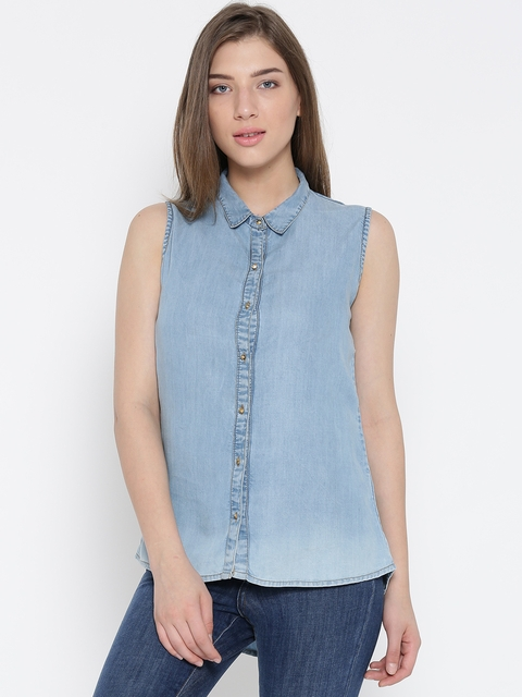 Monte Carlo Women Blue Chambray Shirt