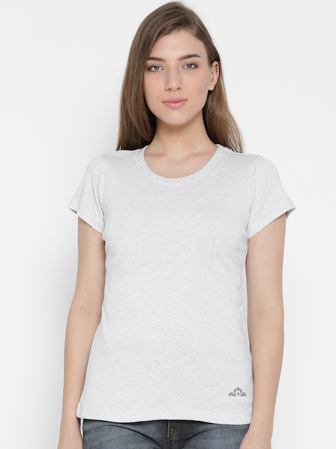 Monte Carlo Women Grey Melange Solid Round Neck T-shirt