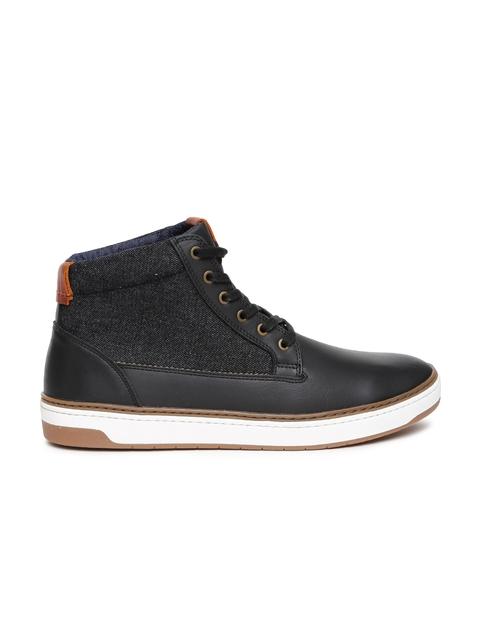 ALDO Men Black Solid Colourblocked CEARA Mid-Top Sneakers