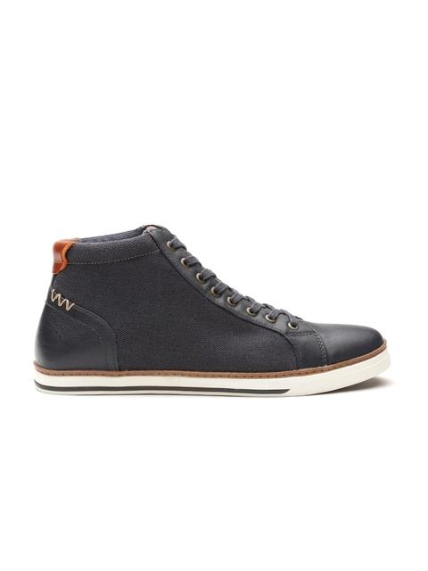 ALDO Men Navy Blue Solid Mid-Top Sneakers