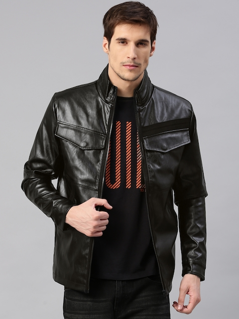 HRX by Hrithik Roshan Men Black Solid Biker Jacket