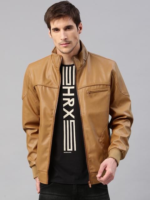 HRX by Hrithik Roshan Men Tan Solid Biker Jacket