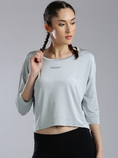 Kappa Women Grey Solid Styled Back Top