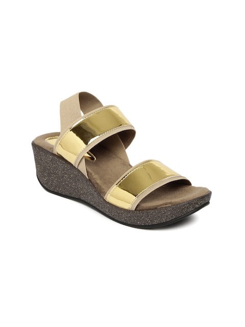 Catwalk - Wedge - Catwalk Women Gold-Toned Colourblocked Wedges