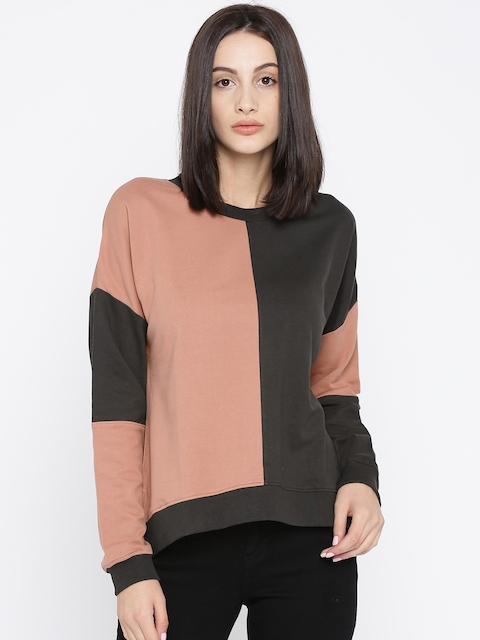 Roadster Women Pink & Charcoal Grey Colourblocked Sweatshirt