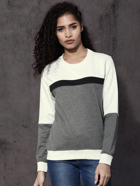 Roadster Women Grey Colourblocked Sweatshirt