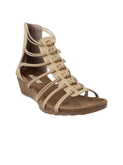 Mochi Women Beige Solid Gladiator Heels