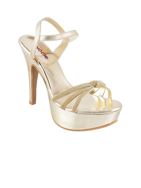 Mochi Women Gold-Toned Slim Heels