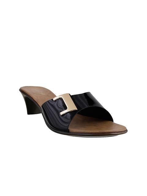 Mochi Women Black Glossy Kitten Heels