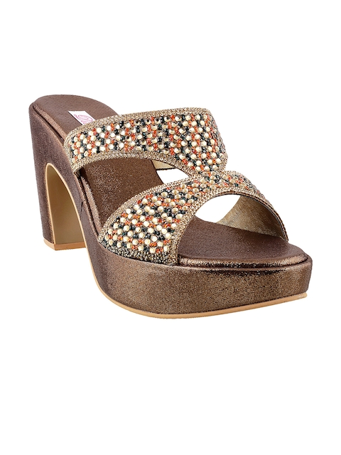 Mochi Women Gold-Toned & Orange Embellished Heels