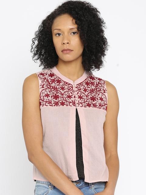 Colour Me by Melange Women Pink Self-Design Top