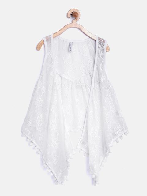 612 league Girls White Crochet Shrug