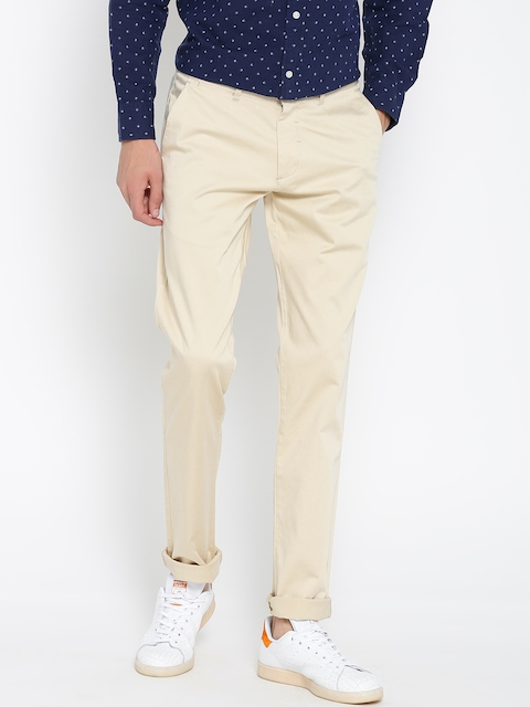 Red Tape Men Cream-Coloured Slim Fit Solid Casual Trousers