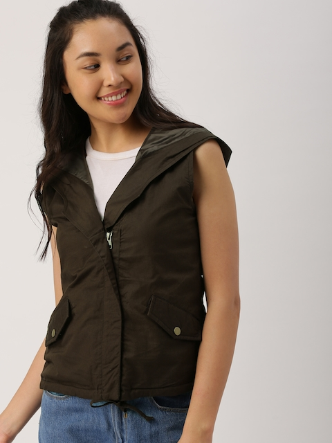 DressBerry Women Brown Solid Tailored Jacket