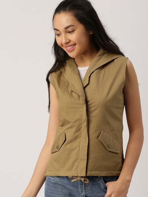 DressBerry Women Khaki Solid Tailored Jacket  available at myntra for Rs.1149