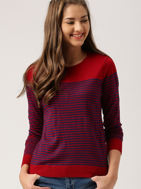 DressBerry Women Red & Blue Striped Pullover  available at myntra for Rs.499