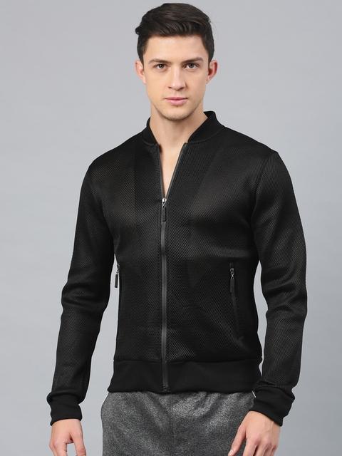 HRX by Hrithik Roshan Men Black Solid Open Front Jacket